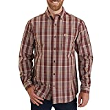Carhartt Men's Petite Relaxed Fit Cotton Long-Sleeve Plaid Shirt, Dark Cedar, X-Large/Tall