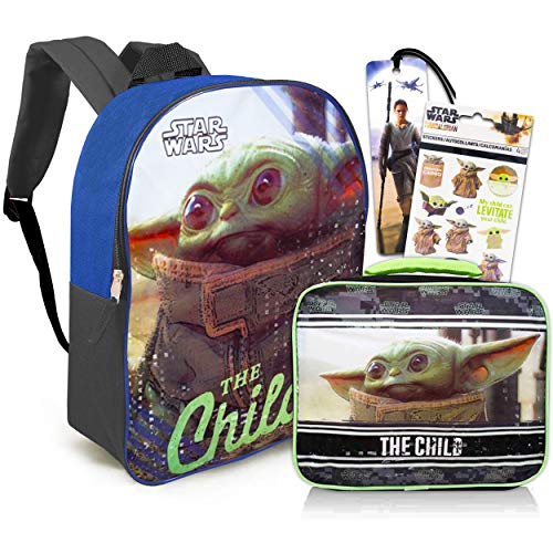 Mandalorian Baby Yoda Lunch and The Child Backpack Bundle - Large 16  Baby Yoda School Bag and Lunch Bag with Stickers and Bookmark