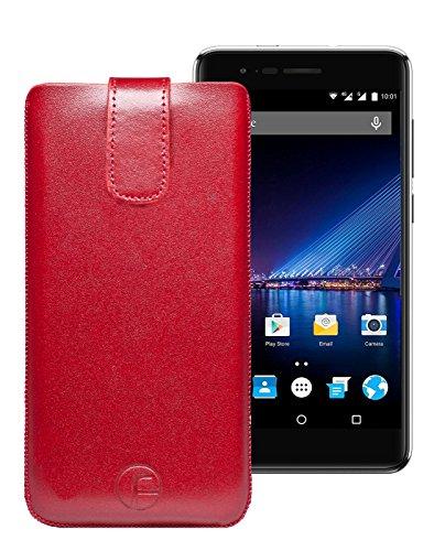 Original Favory Etui Tasche für Phicomm Energy 4S | Leder Etui Handytasche Ledertasche Schutzhülle Hülle Hülle Lasche mit Rückzugfunktion* in rot