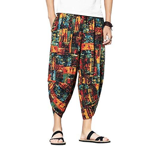 Donna Uomo Unisex Estate Casual Shorts Harem Pantaloni Capri Larghi Cotone Lino Vita Elastica Coulisse Cargo Pantaloncini 3/4 Shorts (5#,3XL (Label 4XL))