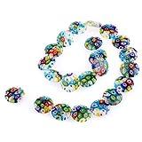 Perle Perline in vetro murano millefiori a colori 18mm