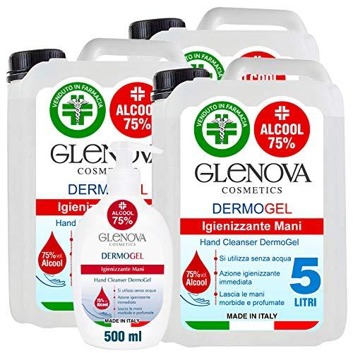 3 Taniche Gel per le Mani da 5 Litri Alcool 75% con 500ml Dispenser 75% GLENOVA Igienizzante Antibatterico Sanificante Dosatore Alcolico Azione Rapida Contro Germi e Batteri