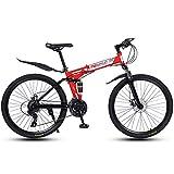 Variable Speed Folding Fahrrad, 30-Speichen-Rad, 26-Zoll-Leicht Faltrad, Erwachsene Mountain Bikes, Doppelaufhebung MTB Bikes, Mountain Trail Bike Stadt Bahn-Fahrrad Anti-Rutsch-Bike,Rot,27 speed