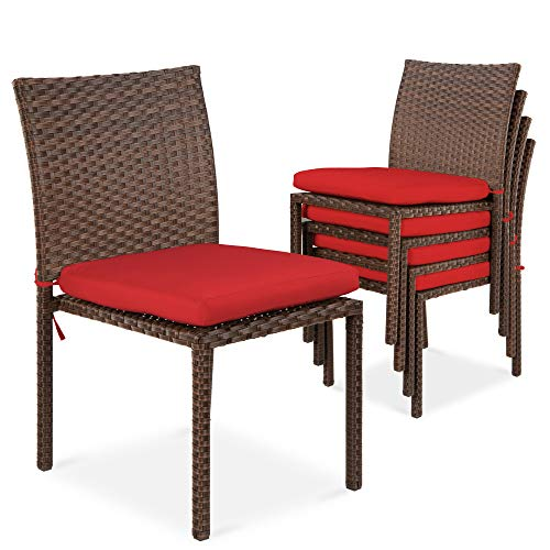 Best Choice Products Set of 4 Stackable Outdoor Patio Wicker Chairs w/Cushions, UV-Resistant Finish, and Steel Frame - Brown/Red