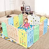 """Playpen for Babies, 14 Panel Baby Playpen, Foldable Baby Play Yards, Play Pens for Babys, Safety Play Yard, Kids Childs Activity Play Centre for Indoor Outdoor, 54.6""""x54.6', Multi Color"""