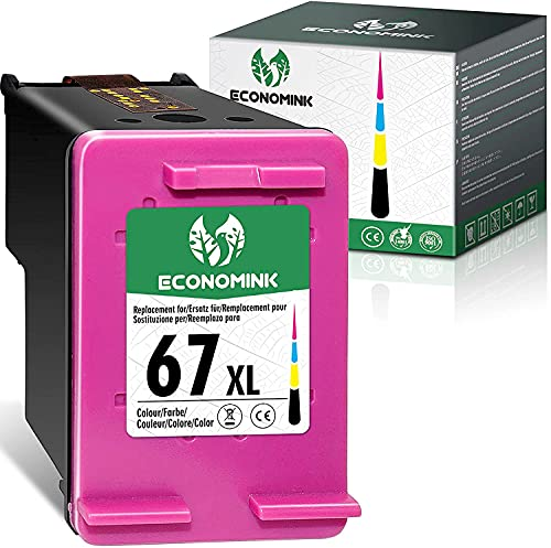 Economink Remanufactured Ink Cartridge Replacement for HP 67 67XL 67 XL Tri-Color for DeskJet 2700 2752 2710 2755 2722 2723 2720 Plus 4100 Envy 6000 6055 6052 6022 Pro 6400 6452 Printer (1 Tri-Color)