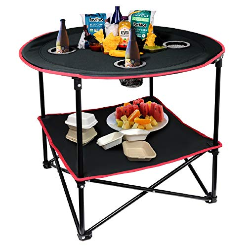 LESES Portable Canvas Travel Folding Picnic Table Outdoor Camping Table with Storage Bag