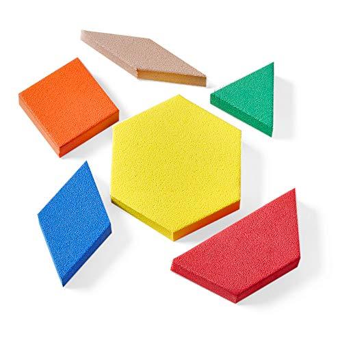 hand2mind Foam Pattern Blocks for Kids, Shapes for Kindergarten, Montessori Toys, Geometric Shapes, Symmetry, Shape Recognition, Pattern Blocks for Classroom (Set of 100)
