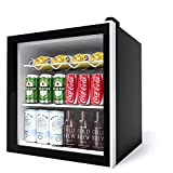 Aneken 62 Can Beverage Refrigerator and Cooler, Mini Fridge Cooler Glass Door Beer fridge with Reversible Door for Beer Soda or Wine for Home, Office or Bar, 1.6cu.ft.