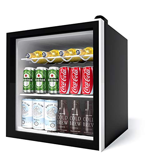Aneken 62 Can Beverage Refrigerator and Cooler, Mini Fridge Cooler Glass Door Beer fridge with Reversible Door for Beer…