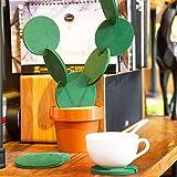 UKUCI DIY Novedad 6 Piezas-Posavasos-Flor-Cactus en Forma de Posavasos portavasos decoración de Mesa tapetes
