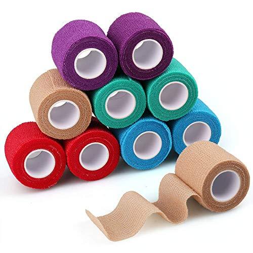 LotFancy Haftbandage Selbsthaftende Bandage 10 Rollen 5cm x 4,5 m Pet Vet Wrap Selbst den Verbände für Katze, Hund, Pferd, Haustier, Elastisch, Wasserabweisend, Atmungsaktiv - Multifarben