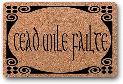 BXBCASEHOMEMAT Cead Mile Failte, Doormat, Irish Doormat, St. Patrick's Day, Celtic, Gaelic, Welcome Mat, Customized Doormat, Shamrock, Irish Blessing, Fall 18' x 30'