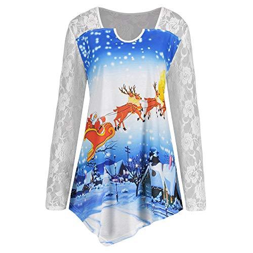 OverDose Damen Frauen Weihnachten Stitching Long Lace Sleeve Printed O-Ausschnitt Weihnachtsmann Cosplay Slim Party Clubbing T-Shirt Tops Bluse Tuniken(Blau2, EU-42/CN-XL)