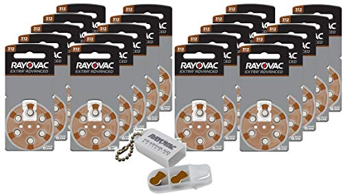 Rayovac Size 312 Extra Advanced Mercury Free Hearing Aid Batteries + Battery Holder Keychain Kit (120 Batteries)