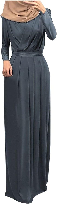 VEKDONE Women Long Sleeve Flowy Empire Waist Fall Winter Party Islamic Gown Chiffon Kaftan Abaya Dress Muslim Tie Maxi Dress
