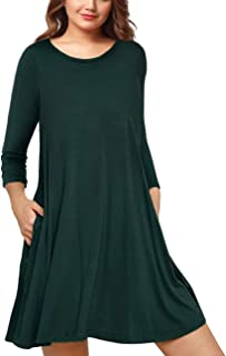 AMZ PLUS Womens Plus Size Long Sleeve Casual Swing Tunic Dress with Pockets