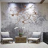 Mapa del mundo de metal para pared brújula, mapa del mundo sin fronteras, decoración de pared de metal, bronce (98 x 75 cm)