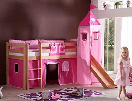 Froschkönig24 Hochbett Alex Kinderbett mit Rutsche Spielbett Bett Natur Stoffset Pink/Herz, Matratze:ohne