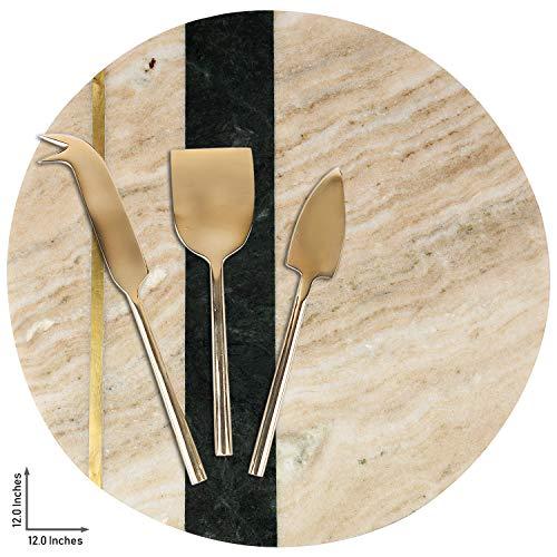 GAURI KOHLI mooie marmer kaasplaat met gouden inlay/charcuterie platte; met set van 3 messing kaasmessen (maat Large   vorm rond   kleur wit)