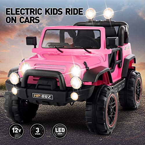 New Fitnessclub Electric Cars for Kids, 12V Powered Kids Ride On Car with 2.4 GHZ Bluetooth Remote Control, LED Lights, MP3 Player, 3 Speeds (Pink2)