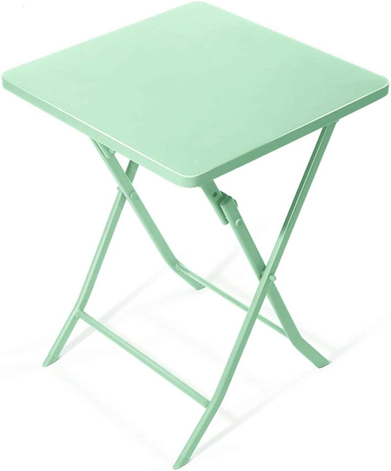 Qing MEI Simple Foldable Wrought Iron Square Table Small Size Wrought Iron Dining Table Bedroom Coffee Table Laptop Table (color   Light Cyan)