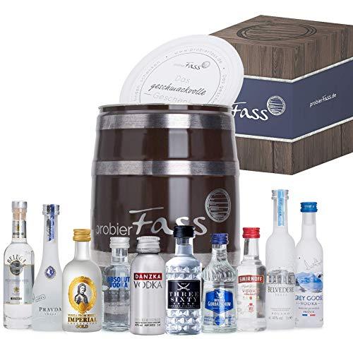 probierFass Vodka Geschenk | 10 beliebte Vodka Klassiker (8 x 0.05l und 2 x 0.04l) in einem originellen Fass mit Geschenkverpackung | Vodka Probierset | Vodka Set | Vodka Geschenkset