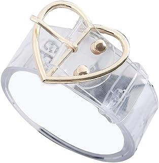 Cintura Da Donna Bodhi2000 Cintura Tonda Con Cuore Tondo Fibbia Trasparente Cintura In Vita
