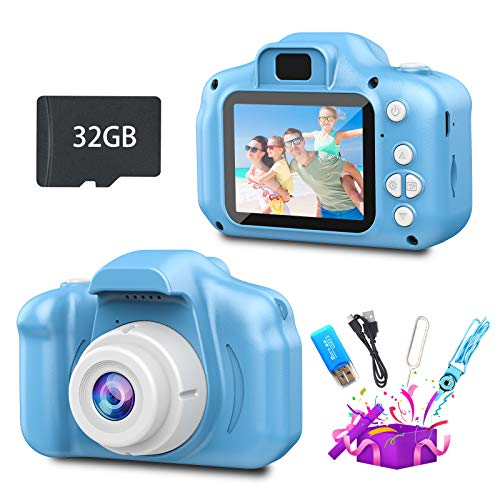 Rikum Kids Camera with 32GB SD Card, 1080P HD 12MP Auto Focus Kids Digital Camera, Toddler Camera for Kids Aged 3-12 Years, Gift for 3 4 5 6 7 8 9 10-Year-Old Boys, Girls, Children