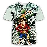 yinying Manga Corta 3DSummer One Piece 3D Digital Imprimir Camiseta Manga Corta de los hombres-Xt174_L