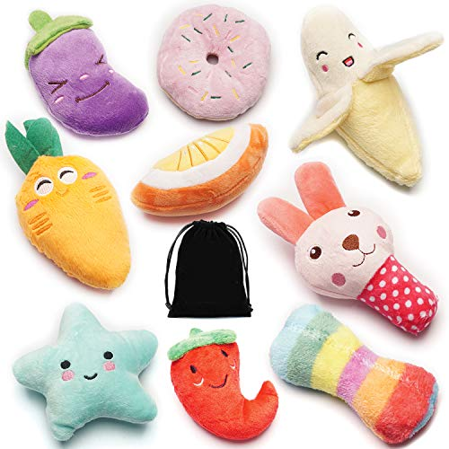 SZKOKUHO 9 Pack Puppy Squeaky Plush Dog Toys Set for Small Dogs to Bite Anytime,Variety Colors& Categories