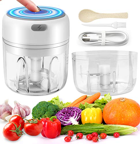 Electric Garlic Masher,Mini Food Chopper Electric,USB Charging Portable Vegetable Fruit Meat Garlic Onion Ginger Chopper with 2&3 Sharp Blades Grinder,2PCS Thickened Cup base-100ML&250ML