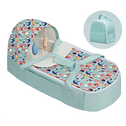 GFHJ1201 Cuna Portátil con Colchón, Cuna Plegable del Viaje del Bebé con Dosel, Cama De Nido De Bebé Recién Nacido con Juguetes, para Recién Nacidos 0-1 Años(Color:Verde)