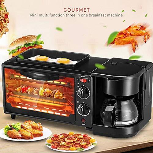 HKDJ-1050W Keuken Sandwich Maker, 3-in-1 ontbijtmachine (bakvorm, oven en koffiepot) om ei te braden, toasten met brood, koffie in het huishouden