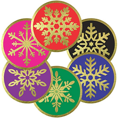 "Snowflake Stickers Seals Labels - (Pack of 120) 2"" Large Round Gold Foil Stamping for Christmas Holiday Cards Gift Envelopes Boxes"