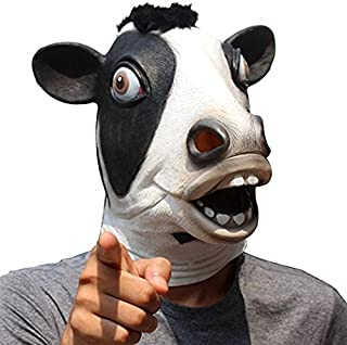 CreepyParty Novelty Halloween Costume Party Latex Cow Head Mask (Cow) Black