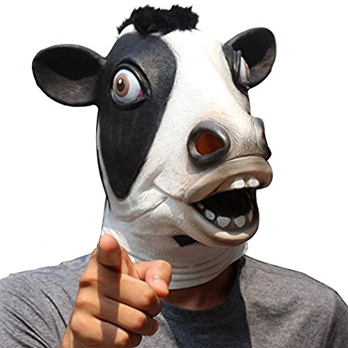 dairy masks Animal Mask Cow Head Funny Masquerade for Adults Dressing Up Cow Masks (Black)