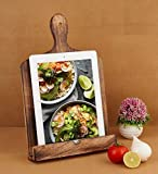 Eximious India Wooden Cook Book Stand Chopping Board Style Foldable Recipe Book Stand Holder Easel for Kitchen Text Book Ipad Tablet L9.5 x B1 x H14 inches (Design 2)