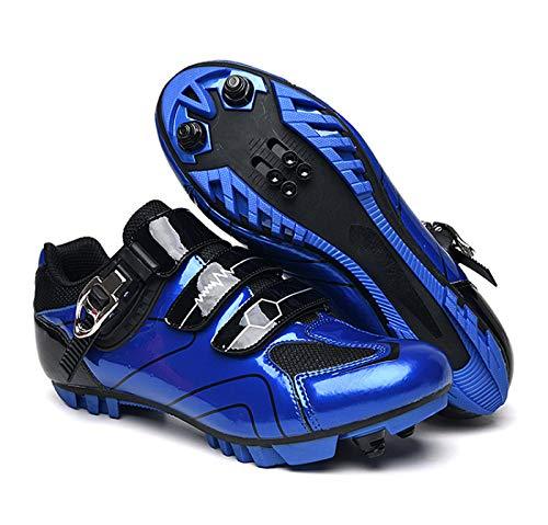 Calzado de Ciclismo Hombre, Moutntain Zapatillas De Ciclismo para Hombre Zapatillas De Bicicleta - Zapatillas De Bicicleta Profesionales para Mujer para Spin Transpirable Adulto Unisex,Blue-37