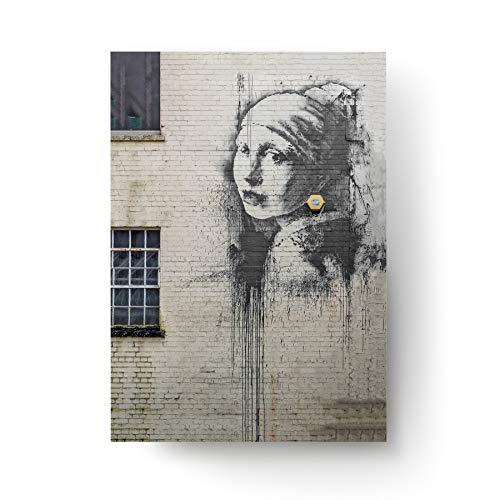Decords Banksy Art orecchino Stampa Ragazza con Un Giallo Perla Wall Poster Street Graffiti Pittura Strada Regali di Carta