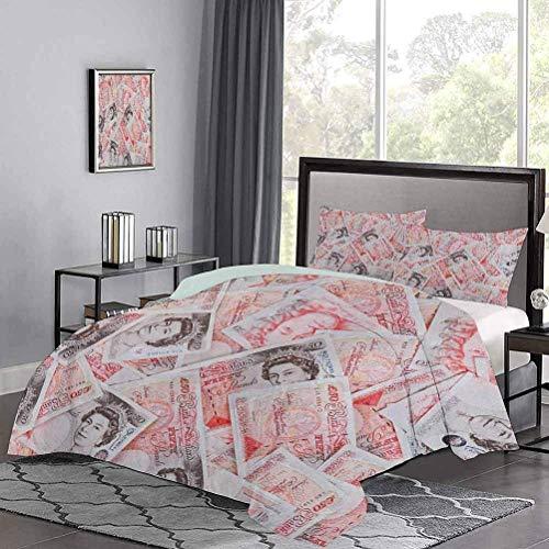 Yoyon Bettbezug Bullseye Notes mit einem Porträt von Queen of England Papierrechnungen von Großbritannien Hotel Stitch Bettbezug Set Weiches Material Fühlt Sich luxuriöses Scharlachrot Taupe an