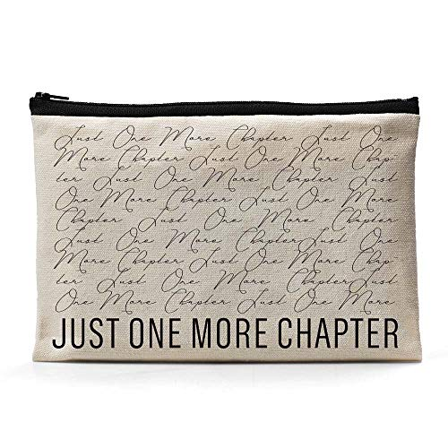 Ihopes Just One More Chapter Canvas Zipper Pouch | Funny Library Themed Cotton Canvas Pencil Case/Pencil Pouch/Pen Organizer Bag Gifts for Book Lovers Bookworm Readers Kids Friends