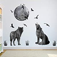 NIUASH ウォールステッカー 動物の森ムーンウルフウォールステッカーPVCフォレストバードDIY動物の壁ポスターキッズルーム寝室壁画アート70X85CM