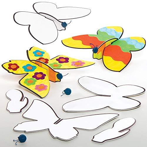 Baker Ross Inkleurbare Zwevende Vlinders (10 stuks) Knutselspullen en Knutselsets voor Kinderen