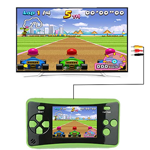 HigoKids Handheld Game for Kids Portable Retro Video Game Player Built-in 182 Classic Games 2.5 inches LCD Screen Family Recreation Arcade Gaming System Birthday Present for Children-Green