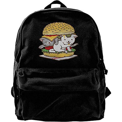 Yuanmeiju Computer Backpacks,Classic Canvas Daypack,College School Book Bags,Travel Rucksack,Hamburger Cat Casual Shoulder Backpack,Notebook Laptop Bag