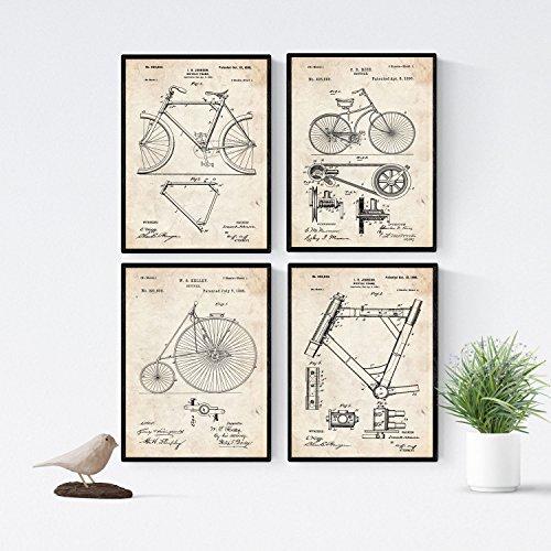 Nacnic Fahrrad Patent Poster 4er-Set. Vintage Stil Wanddekoration Abbildung von Sports und Alte Erfindungen. Verschiedene atletische Fitness Bilder ohne Rahmen. Größe A4.