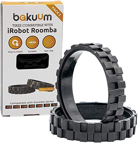 PNEUS Roues pour IROBOT ROOMBA séries 500, 600, 700, 800 et 900 (Pack 2 unités) Fabriqué en Espagne Antidérapant, adhérence exceptionnelle et montage facile