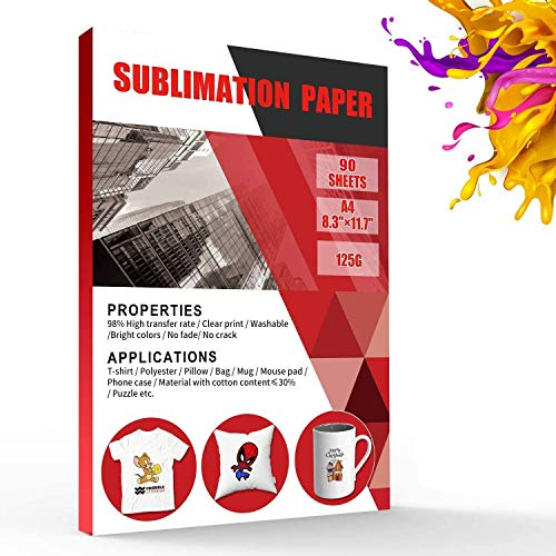 Tonha Sublimation Paper 8.3 x 11.7 Inches 90 Sheets,for Any Inkjet Printer with Sublimation Ink, Heat Transfer Sublimation for Mugs, T-shirts, Light Fabric DIY