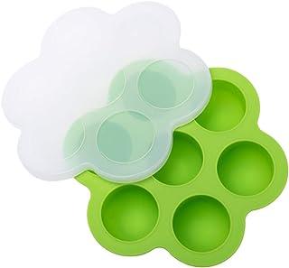 علبة تخزين طعام الأطفال من السيليكون مع غطاء بمشبك على 7 تجاويف مكعبات لحفظ مستلزمات تغذية الطفل من كابيلو